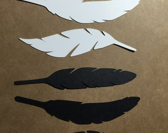 6 die cut feathers - black and white