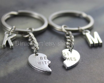 Best witchesJewelry Best witches Keychain Personalized Friendship gift Initial Keychain Sisters Keyring