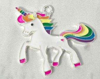 40*42mm, Rainbow Unicorn Pendant, Enamel Pendant, Rainbow Unicorn, Rhinestone Unicorn, Chunky Necklace, DIY Necklace, Unicorn Necklace