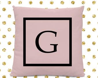 Initial Pillow - Letter Pillow - Pillow with Letter G - Monogrammed Pillow - Custom Throw Pillow - Pink Letter Pillow