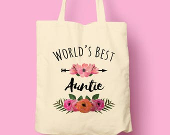 Vintage Floral Arrow - Worlds Best Auntie - Natural / White - Reusable Tote Shopping Bag