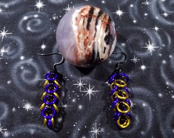 Purple and Yellow Feather Chainmaille Earrings