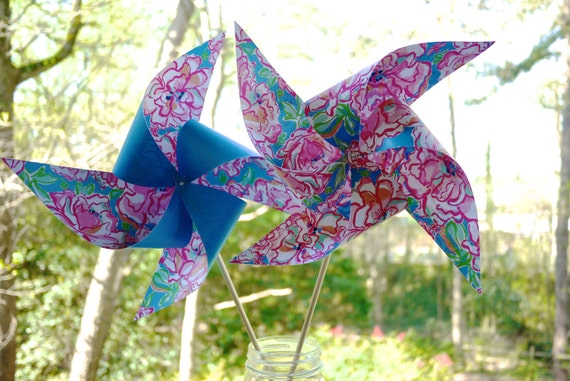 20 Custom Lily Pulitzer Inspired Pinwheels