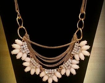After Life Accessories: Repurposed Cream Rhinestones on Gold Chain Statement Necklace