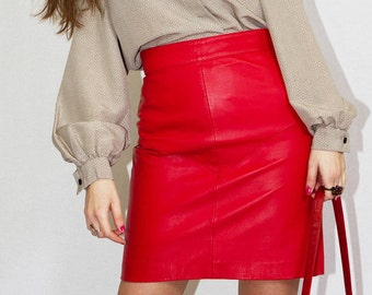 Vintage 80's red leather mini skirt. Size 8 UK. Made in Spain.
