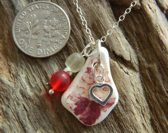 Beautiful Sterling Silver sea pottery pendant necklace with  beach found beads and a heart charm