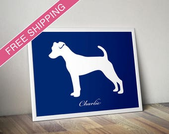 Personalized Jack Russell Silhouette Print with Custom Name - Jack Russell poster, dog art, dog gift