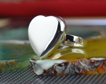 Sterling silver heart locket ring sizes 6, 7, 8, 9