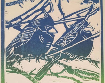 Two Birdies, two-toned colour print - a reproduction of an original linocut print