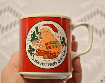 Vintage Human Beans Mug Christmas Holly Days Jolly Days 1982 Enesco PanchosPorch