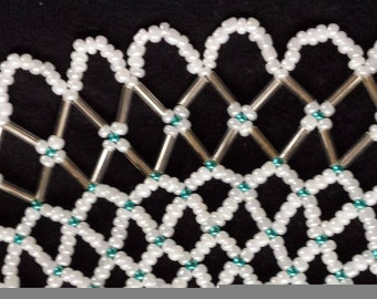 Pearly White and Turquoise Collar Bib Necklace