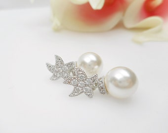Cubic Zirconia Starfish Bridal Earrings Beach Wedding Earrings Nautical Bridal Earrings Pearl And Starfish Earrings Bridesmaid Earrings Gift
