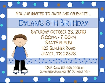 20 Personalized Birthday Invitations   Roller Skating Party  -   BOY