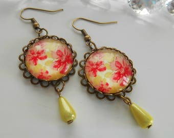 "Earrings bronze ""vintage floral"" glass cabochon"
