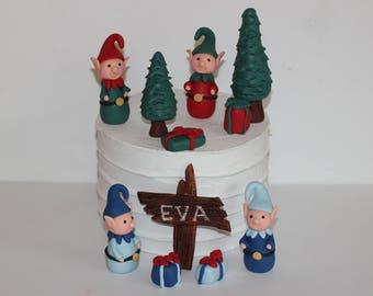 Fondant Elves Cake Decoration Elf Pine Trees Baby Shower Birthday Cake Decoration Christmas