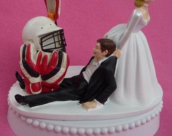 Wedding Cake Topper Lacrosse Player Helmet Gloves Stick Sports Groom Themed w/ Bridal Garter Bride Athlete Athletic Hobby Sporty Funny Top