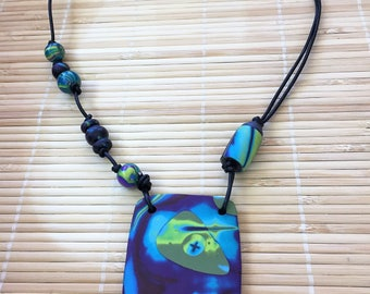 Purple Green and Blue Polymer Clay and Leather Beaded Necklace - Asymmetrical Rustic Look Jewelry