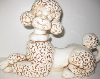 Vintage Poodle Ceramic Happy Lying White Kitch Puppy Dog Curly Poodle Porcelain Decorative Dog 1971 Off White Decor Dog Figurine Large
