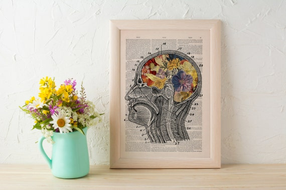 Flowery Brain collage Printed on Vintage Dictionary Book page- Wall decor art,digital art Anatomy wall decor, SKA053b