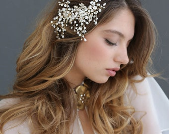 Bridal hair comb - White opal and crystal, pearl spray comb - Style 601 - Ready to Ship
