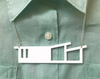 Palm springs style house necklace by Tiny Scenic | Mid century modern style | Laser cut necklace