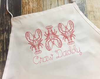 Crawfish Personalized Apron - Grilling Apron - Available in more colors of Aprons - Boil Men's Apron - Father's Day Gift - Craw Daddy