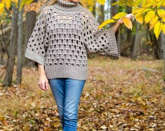 Women Sweater Crochet PATTERN - Kimono Sleeves Women Top - Plus Size, Cowl Neck, Pullover - Small to Plus Sizes - PDF