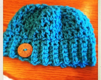 Crocheted Trending Messy Bun Hat - Teal w/Button
