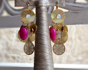 Bohemian earrings, beads and charms, pink, yellow gold