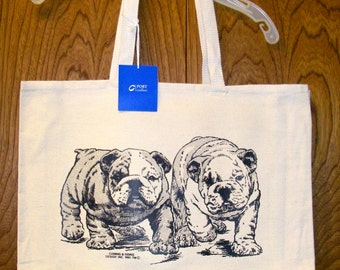 ENGLISH BULLDOG Puppies  --  Coming&Going double design X-Large Cotton Canvas Tote Bag
