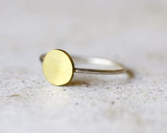 Circle ring - Geometric Ring - Brass and sterling silver ring