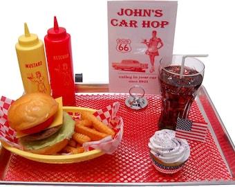 Fake Food Car Hop Tray Display
