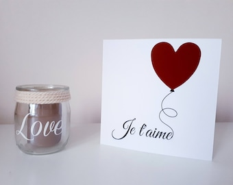 """Scratch card personalized """"I love you"""" Valentine's day red heart / Surprise"""