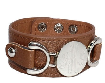 Camel/Silver Engravable Leather Cuff