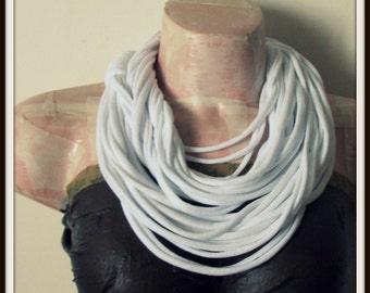 SALE White Infinity Multi Strand T shirt Jersey Scarf