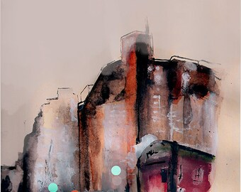 Sunset Fog - New York City landscape Watercolor Art Print