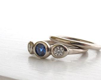 Ceylon Three Stone Ring, blue sapphire and diamond anniversary ring, alternative engagement ring, recycled white gold