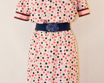 70s Jersey pink & navy dotted dress
