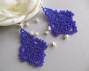 Blue tatting  lace earrings, tatted lace jewelry, tatted beaded earrings, blue lace earrings, victorian jewelry, stylish jewelry, gift idea.