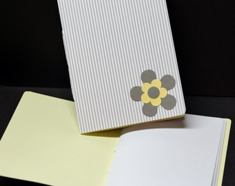 Grey Stripes with Yellow, punched flowers, set of 2, note pads, jotters, mini journal, mini notebook, pocket size, scratch pad, to do lists