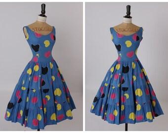 Vintage original 1950s 50s novelty spot print tiered cotton dress UK 6 US 2 XS