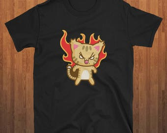 Mad Cat Fire Cat t-shirt Funny