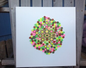"""Quilling Abstract Art """"Groove"""" Pink Green Brown Yellow 12 x 12 on Canvas"""