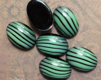 10x14mm Mint Green And Black Stripe Cabs - 6 Vintage Glass Cabochons