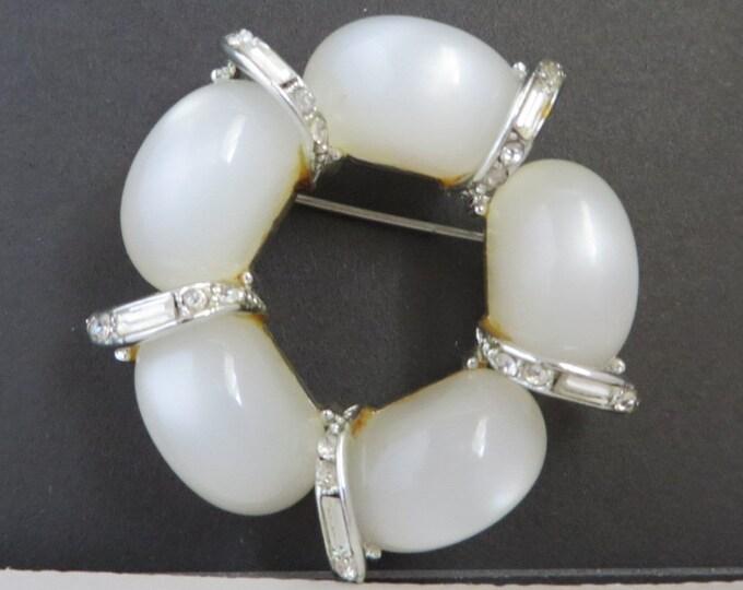 Kramer Brooch, Vintage White Moonstone Pin, Signed Designer Brooch, Crystal Baguette Wreath Pin