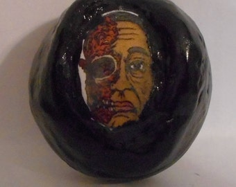"Breaking  Bad Gustavo with half a face 1 1/2"" diameter ceramic smoking stone"
