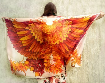 Big scarf Firebird Wings scarf - pareo - beach wrap - silk scarf - hand painted phoenix - feathers scarf - wing scarf - bird scarf - red