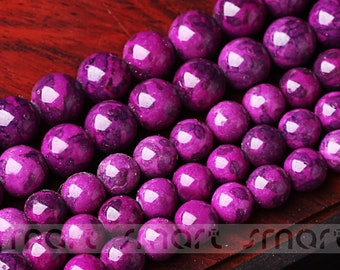 """Synthetic Sugilite Gemstone Round Loose Beads 15.5"""" Inches Strand 6 8 10 12mm"""