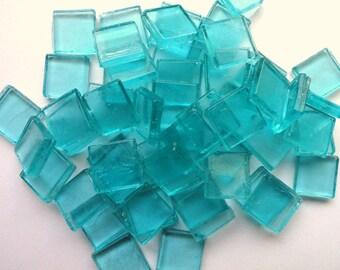 "15mm (3/5"") Aqua Blue Transparent Glass Mosaic Tiles/ Caribbean/ Beach"
