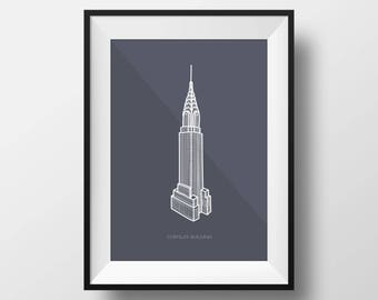 Chrysler Building Digital Illustration Print